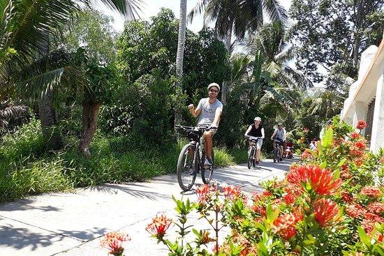 Utenfor allfarvei Mekong med sykkel, båt og kajakk dagstur