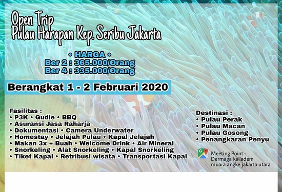 Paket Wisata Pulau Harapan Tanggal 1 - 2 Februari 2020