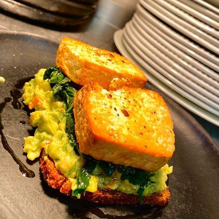 Our new Avocado on rye toast with smoked tofu.