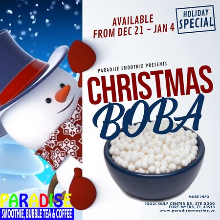 NEW Christmas BOBA. Best Bubble Tea in Fort Myers. Bubble Near Me. Paradise Smoothie Bubble Tea Coffee.#christmas #holiday #capecoralflorida #paradisesmoothie #swfl #naplesflorida #naples #naplesbeach #naples_fl #naplesfl #bubbletea #bobatea #milktea #fgcu #smoothie #coffee #tea