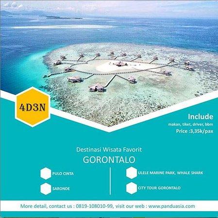 Kami dari panduasia.com mengadakan trip wisata 4D3N (4 Hari 3 Malam) ke tempat wisata eksotis Gorontalo.  💰BIAYA 3,35 jt/Pax,   info lebih lanjut kunjungi 👉 www.panduasia.com 👈