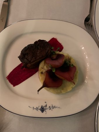 Slow cooked fillet of Beemster veal with its own gravy, chicory mash and Frisian clove cheese and stewed Gieser Wildeman pears