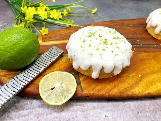 Keto, gluten-free Lemon Glazed Cake made with coconut flour, Elle&Vire butter, organic egg and fresh lime. Available by whole cake.