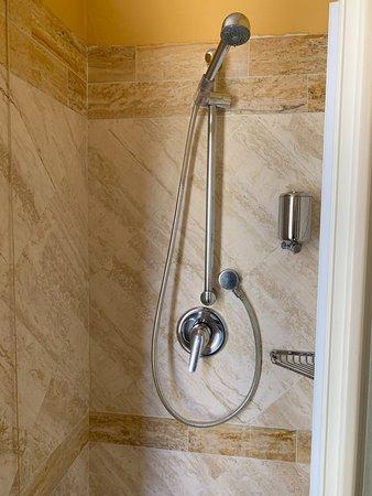 shower has a folding door