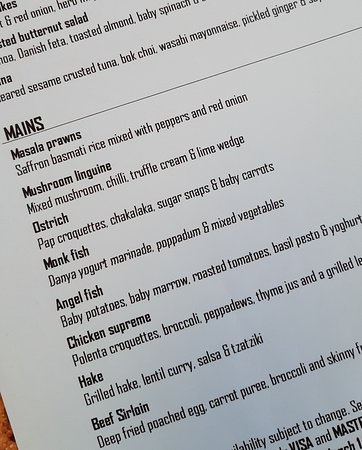 A slice of the menu