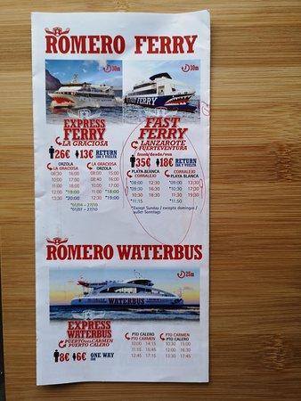 Lanzarote: Ferry return ticket to Fuerteventura with wifi: Information leaflet