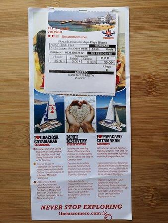 Lanzarote: Ferry return ticket to Fuerteventura with wifi: Information leaflet with my ticket
