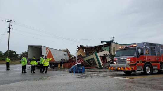 The Desert Inn and Restaurant at Yeehaw Junction was completely destroyed by a jackknifed tractor trailer earlier this morning...