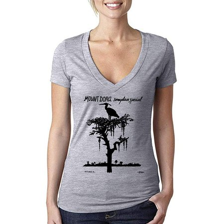 Heron V-Neck T-Shirt Gray (Women) - Someplace Special Collection