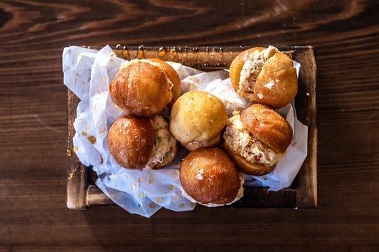 Crab Donuts; brioche, spicy honey & sea salt