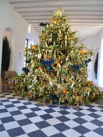 Skip the Line: Chenonceau Castle Admission Ticket: Le grand sapin dans la galerie du premier, plein de perroquet