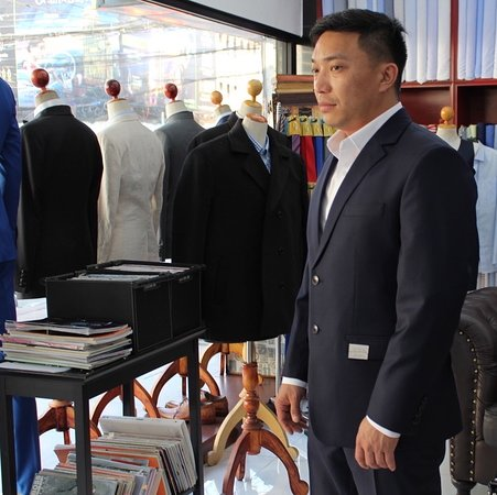 Custom suit crafted by Ama Fashion.