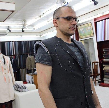 Custom suit lining.