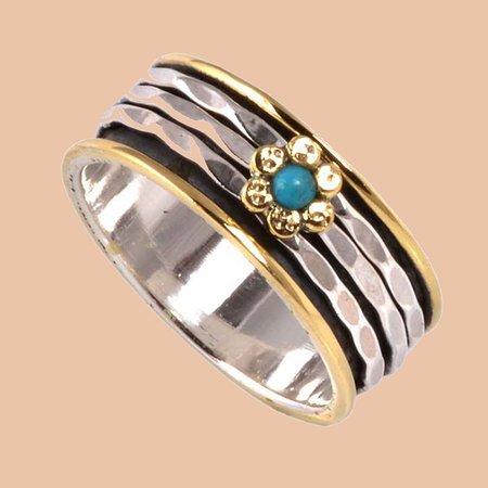 Jaipur, India: meditation ring,Spinner ring, natural turquoise ring