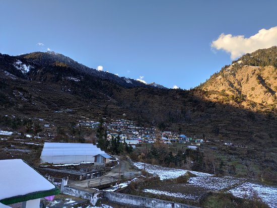 Barsu, India: View of a faraway village from the guest house