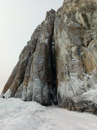 The cliff Sagan Zaba.It is white handed plase among a ancient people of the lake Baikal