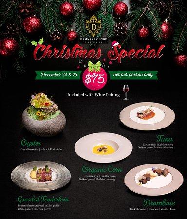 special Christmas menu for set dinner for 24 & 25 Dec, 2019