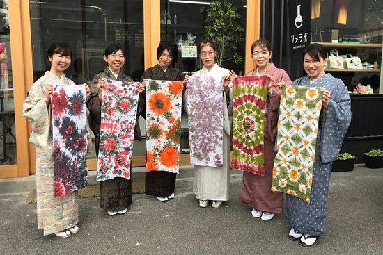 Expérience de teinture colorée d'essuie-mains du Japon ancien