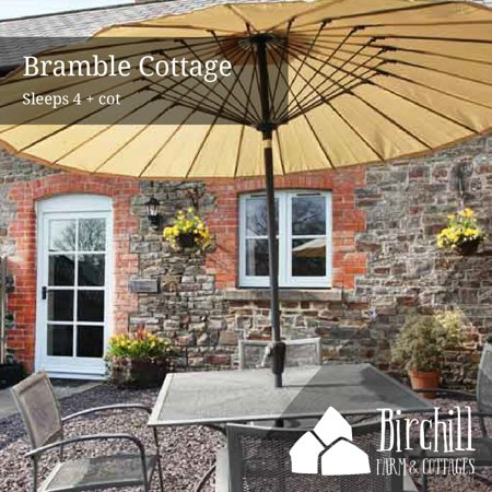 Bramble Cottage is a cosy, two-storey, semi-detached cottage with exposed beams. Living/kitchen space with stairway to two characterful bedrooms with exposed beams. Main bedroom with king size bed, Twin bedroom with single wooden beds. Private fully enclosed garden with lawn, patio and garden furniture, to front of cottage.
