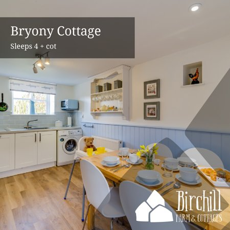 Bryony Cottage is a traditional, two storey, link detached country cottage. It has a beautiful double aspect, spacious sitting/dining room with feature fireplace and electric wood burning effect stove. Lovely, light kitchen/breakfast room. Spacious master bedroom with king size bed and ensuite bathroom. Twin bedroom with beds that can be zipped together to form a 6' super king size bed. Private fully enclosed south facing garden with countryside views, lawn and patio with garden furniture.