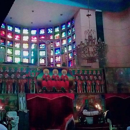 A day trip to Debrelibanos Monastery and the Portuguese Bridge: The Holy Trinity painting inside Debrelibanos Church