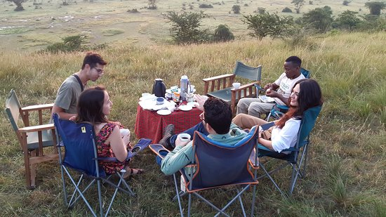 A beautiful sunrise breakfast at Ishasha south of Queen Elizabeth National park that is home to the tree climbing lions
