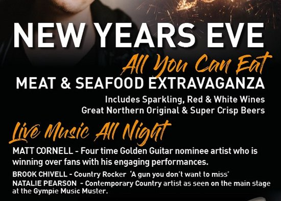 Choofas Smokehouse & Seafood: Celebrate NEW YEARS at CHOOFAS...!! Meat & Seafood Extravaganza. Live music all night. All you can eat with drinks included. 2 sittings 4.30 & 8 pm $150 pp Kids under 12 $25 Book now on our website www.choofas.com.au