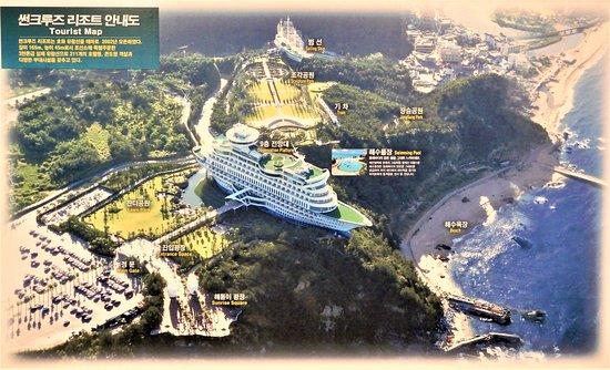 affiche avec vue d'ensemble à l'origine (avant la construction du 2ème bateau-hotel)