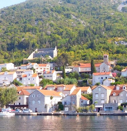 Perast, Montenegro: The more compelling photo is the view FROM the Fortress!