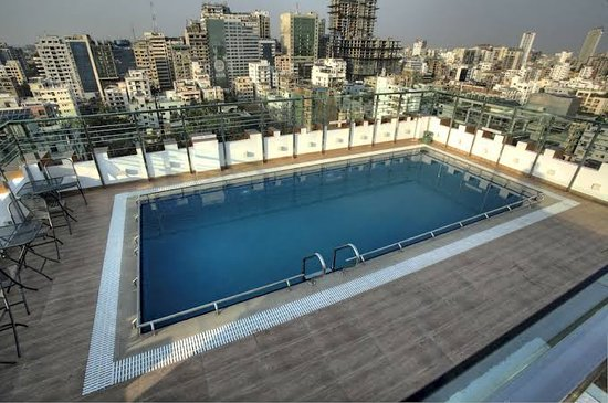Roof-top swimming pool in Dhaka city in Bangladesh