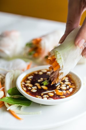Vietnamese Rice Paper Rolls with Fresh Veggies, Basil & Crunchy Peanuts