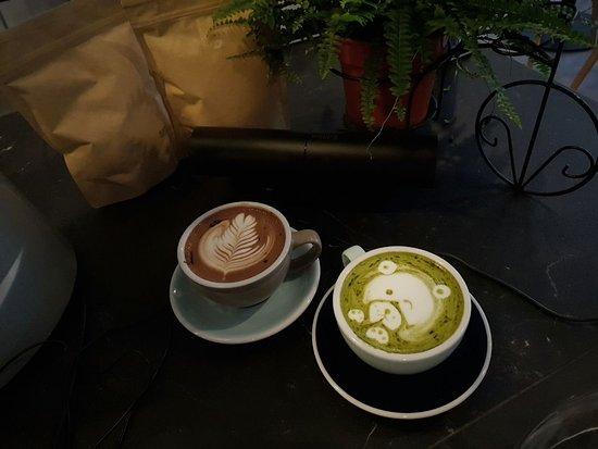 Drinks offering: Mocha (left) & Matcha Latte (right)