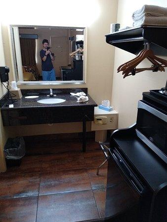 Small outside door bathroom area