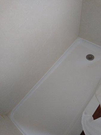 Enjoyed shower despite it sometimes getting water on floor due to no bathtub