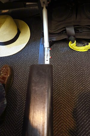 United Airlines: UA1278 PHX to LAX AirBus A320 FC Seat 2F - Slightly Raised Cover, on Floor Between Seats