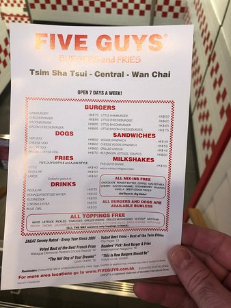 Five Guys (Central) - menu