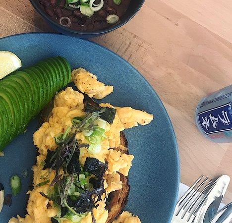 Miso scrambled eggs with avocado