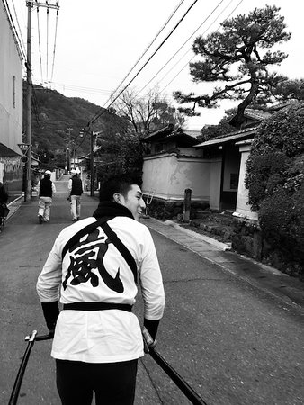 Kyoto Arashiyama Rickshaw Tour with Bamboo Forest: In the local street