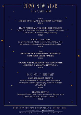 We wish you Happy New Year 2020! While we look back and celebrate 2019, we look with HOPE for 2020. Rock Salt have prepared an Amazing Menu for you. Let's usher in 2020.