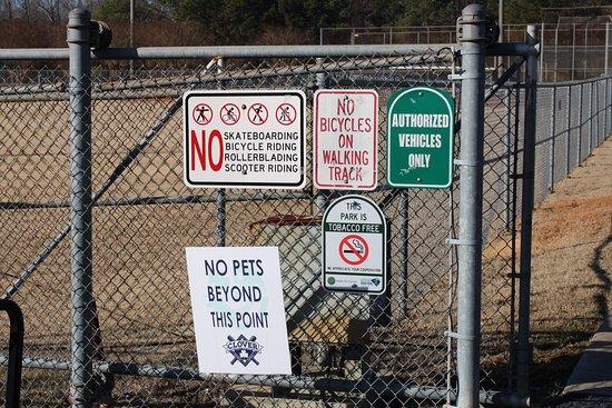 Rules on edge of ballfield.