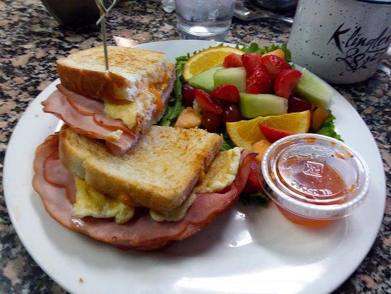 Vestavia Hills, AL: Breakfast sandwich with fruit
