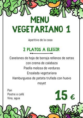 Menú vegetariano 1 (bajo reserva)