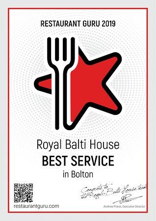 """""""Best Service in Bolton 2019"""" by Restaurant Guru!"""