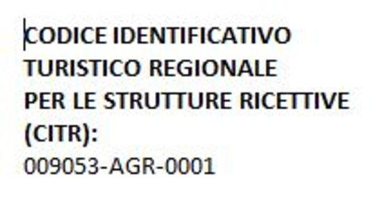Rialto, Italia: CODICE IDENTIFICATIVO TURISTICO REGIONALE PER LE STRUTTURE RICETTIVE (CITR): 009053-AGR-0001