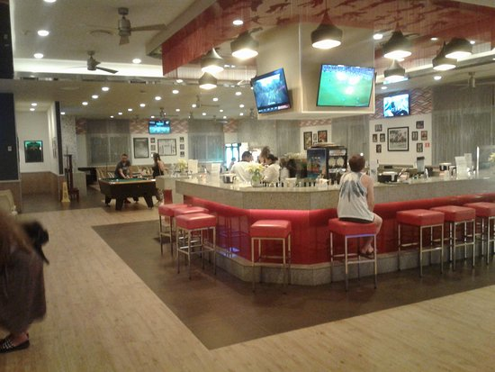 Sports bar , much brighter than before