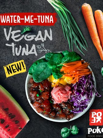 """Try our NEW Vegan Tuna Today! Ask for the """"Water-Me-Tuna""""🍃🌱#buildyourownbowl"""