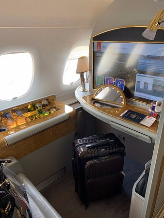 Emirates: First Class seat on A380, smaller than 777 version