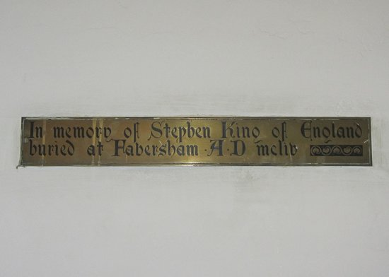 King Stephen's burial memorial plaque, St Mary of Charity Church, Faversham, England