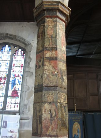 Painted Column from c.1300, St Mary of Charity Church, Faversham, England