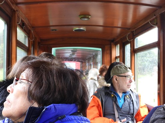 The End of the World Train Admission Ticket: Inside of the cars - it is narrow gauge so not very wide
